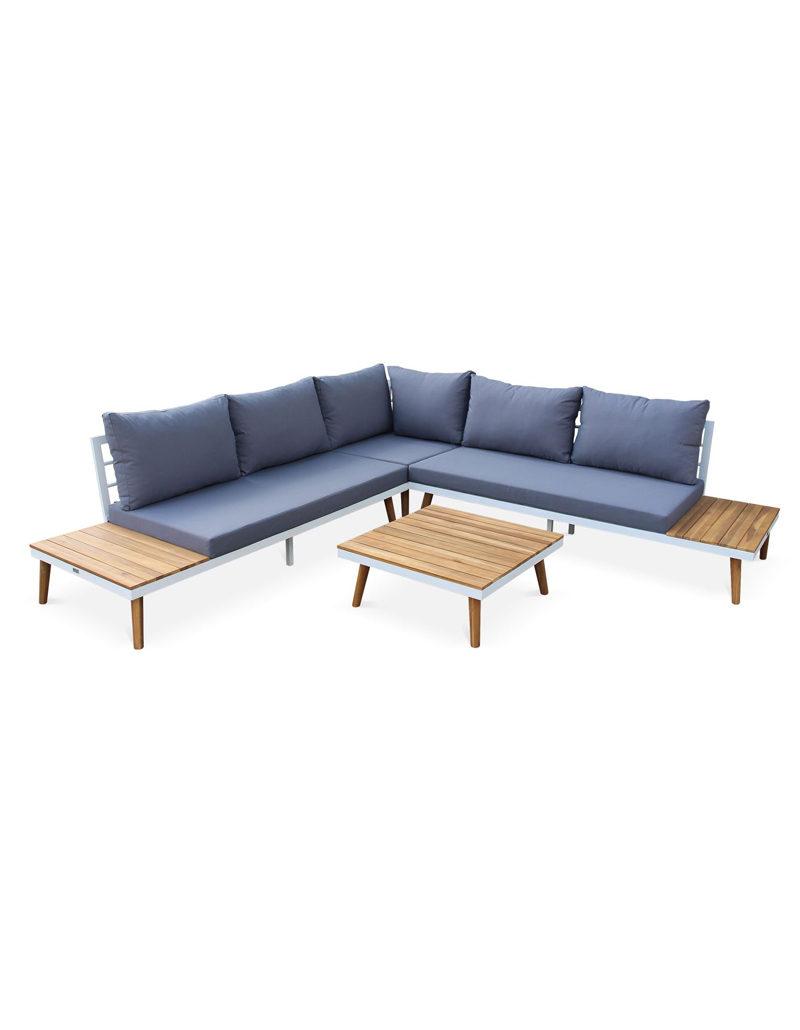 Salon de jardin en bois 5 places - Structure blanche/Coussins gris - Canapé d'angle, tablettes latérales et table basse en acacia, structure aluminium