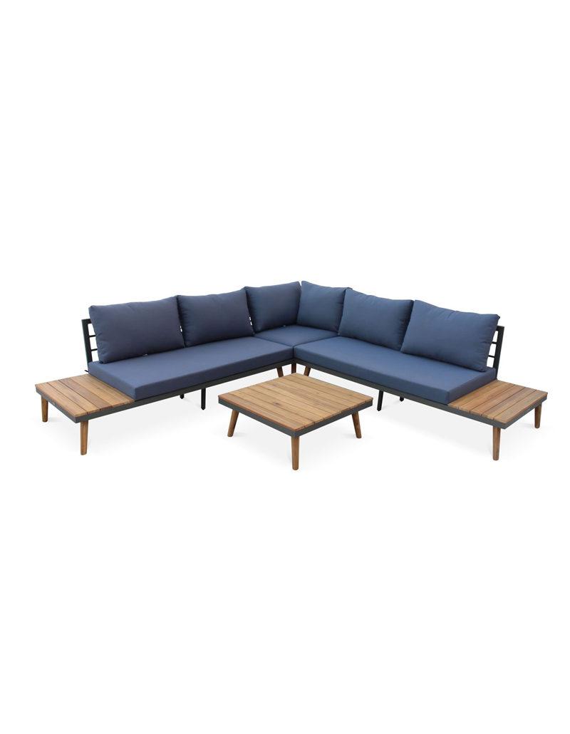 Salon de jardin en bois 5 places - Buenos Aires - Coussins gris, canapé d'angle, tablettes latérales et table basse en acacia, structure alu, piétement scandinave, design