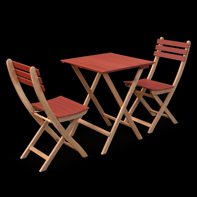 Table de jardin bistrot Bois / Terracotta